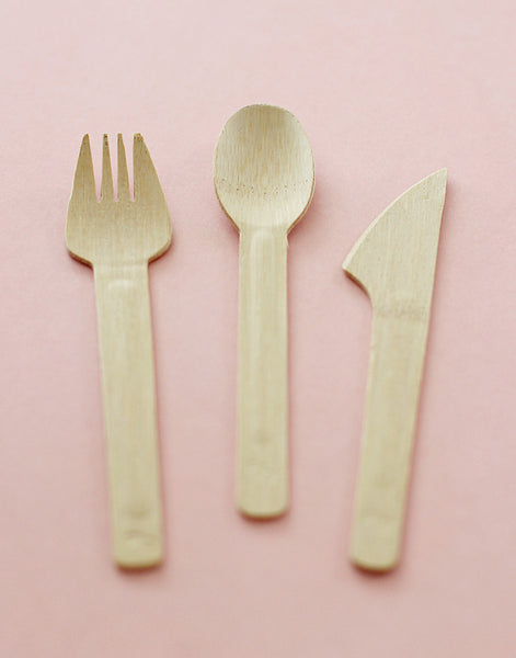 fork, knife, and spoon (set of 8) bamboo tableware - www.mignonshop.com - 1