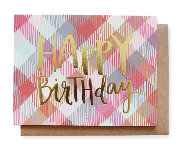 plaid happy birthday card - www.mignonshop.com - 1
