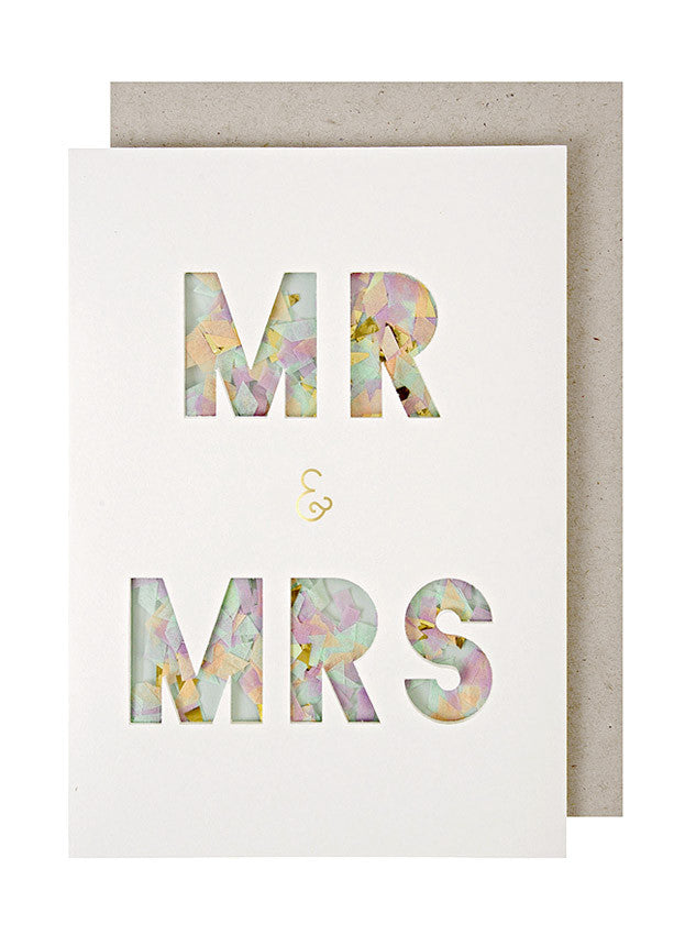 mr and mrs confetti card - www.mignonshop.com