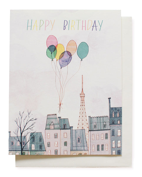 paris balloons birthday card - www.mignonshop.com - 1
