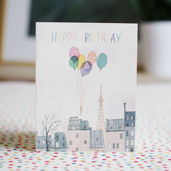 paris balloons birthday card - www.mignonshop.com - 2