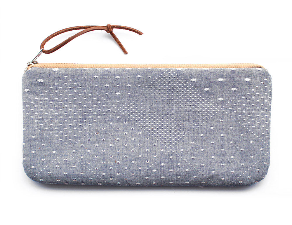 diamond chambray zipper wallet - www.mignonshop.com - 1
