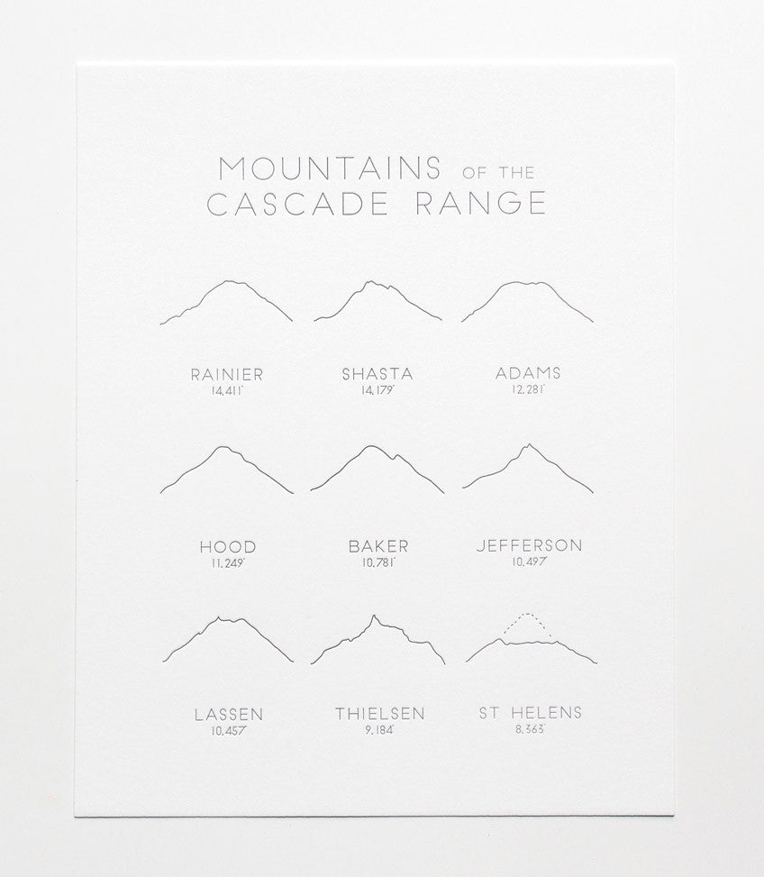 mountains of the cascade range print