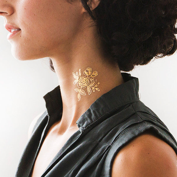 gold floral temporary tattoo - www.mignonshop.com - 1