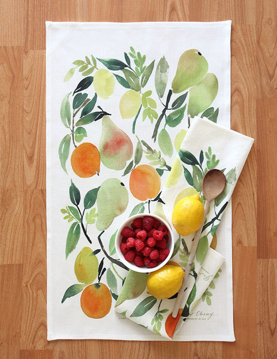 citrus watercolor tea towel - www.mignonshop.com - 2