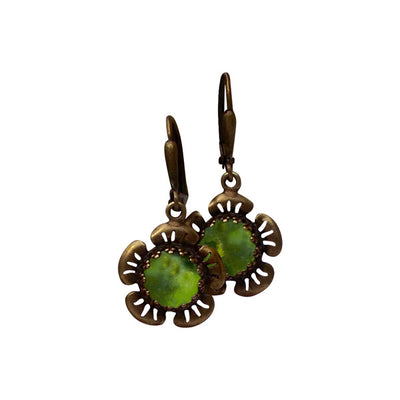 Flowers in Antique Brass Lever Back Earrings