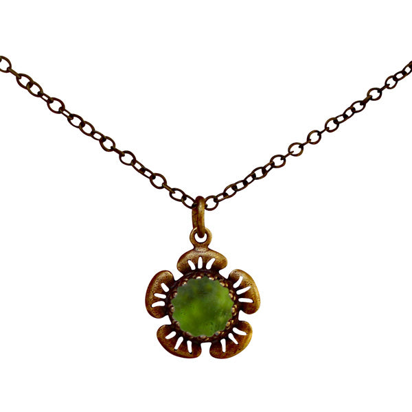 Flowers in Antique Brass Necklace