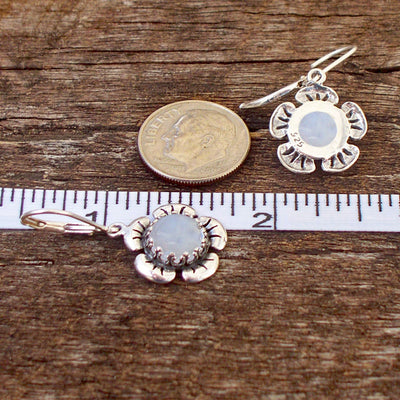 Flowers in Sterling Silver Lever Back Earrings
