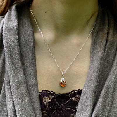 Filigree Teardrop Sterling Necklace