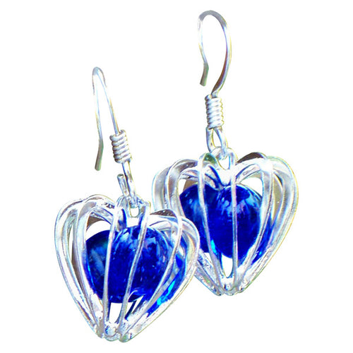 Heart Cage Silver Earrings