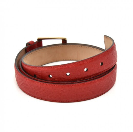 Gucci Red Diamante Leather & Gold-tone Buckle Belt - Size XL 110/44