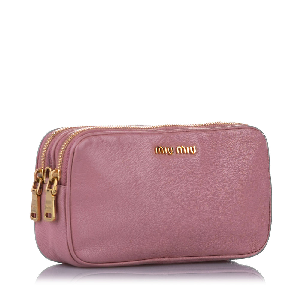 Miu Miu Double Zip Leather Crossbody Bag