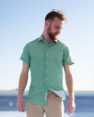 Brava Fabrics - Short Sleeve Shirts Men - Short Sleeve Men - Casual Shirts Men - Regular Fit - 100% Cotton - Green - Model Fig Dreams