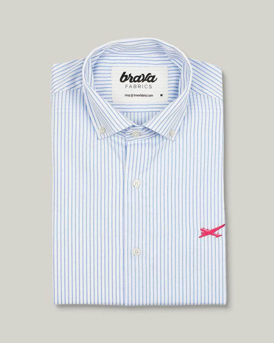 Brava Fabrics - Men's Shirt - Men's Casual Shirt - Men's Shirt - 100% Cotton - Model Essential Stripes