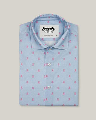 Brava Fabrics - Short Sleeve Shirts Men - Short Sleeve Men - Casual Shirts Men - Regular Fit - 100% Cotton - Blue - Model Pink Octopus