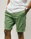 Brava Fabrics - Men's Shorts with Print - Chinese Shorts for Men - Casual Bermuda Shorts - 100% Cotton - Green - Model Jurassic Adventure
