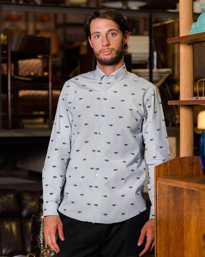 Brava Fabrics - Men's Shirt - Men's Casual Shirt - Men's Shirt - 100% Cotton - Model Northern Raccoon