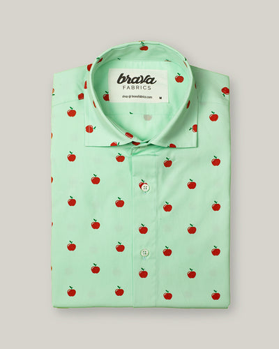 Brava Fabrics - Short Sleeve Shirts Men - Short Sleeve Men - Casual Shirts Men - Regular Fit - 100% Cotton - Green - Model Apple Fairytale