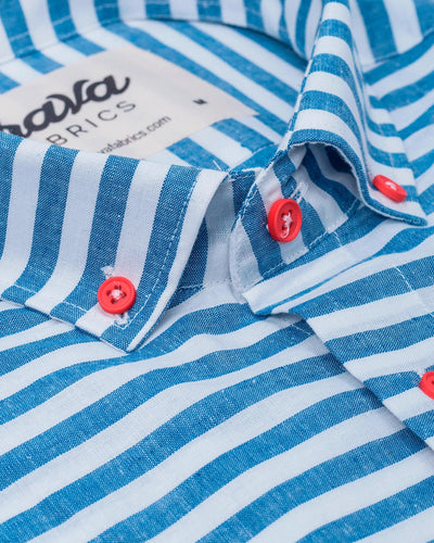 Brava Fabrics - Short Sleeve Shirts Men - Short Sleeve Men - Casual Shirts Men - Regular Fit - 100% Cotton - Blue - Model Linen Picasso Essential