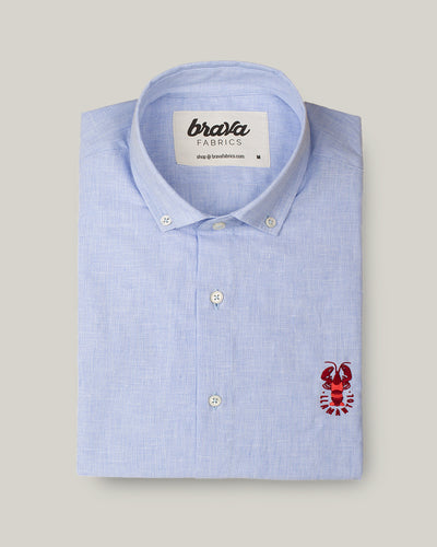 Brava Fabrics - Short Sleeve Shirts Men - Short Sleeve Men - Casual Shirts Men - Regular Fit - 100% Cotton - Blue - Model Crazy Lobster Linen Essential