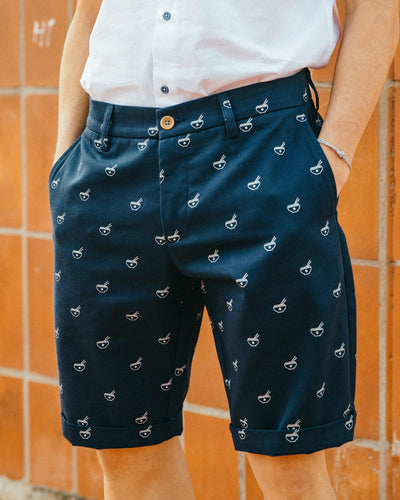 Brava Fabrics - Men's Shorts with Print - Chinese Shorts for Men - Casual Bermuda Shorts - 100% Cotton - Blue - Model Ramen Diet
