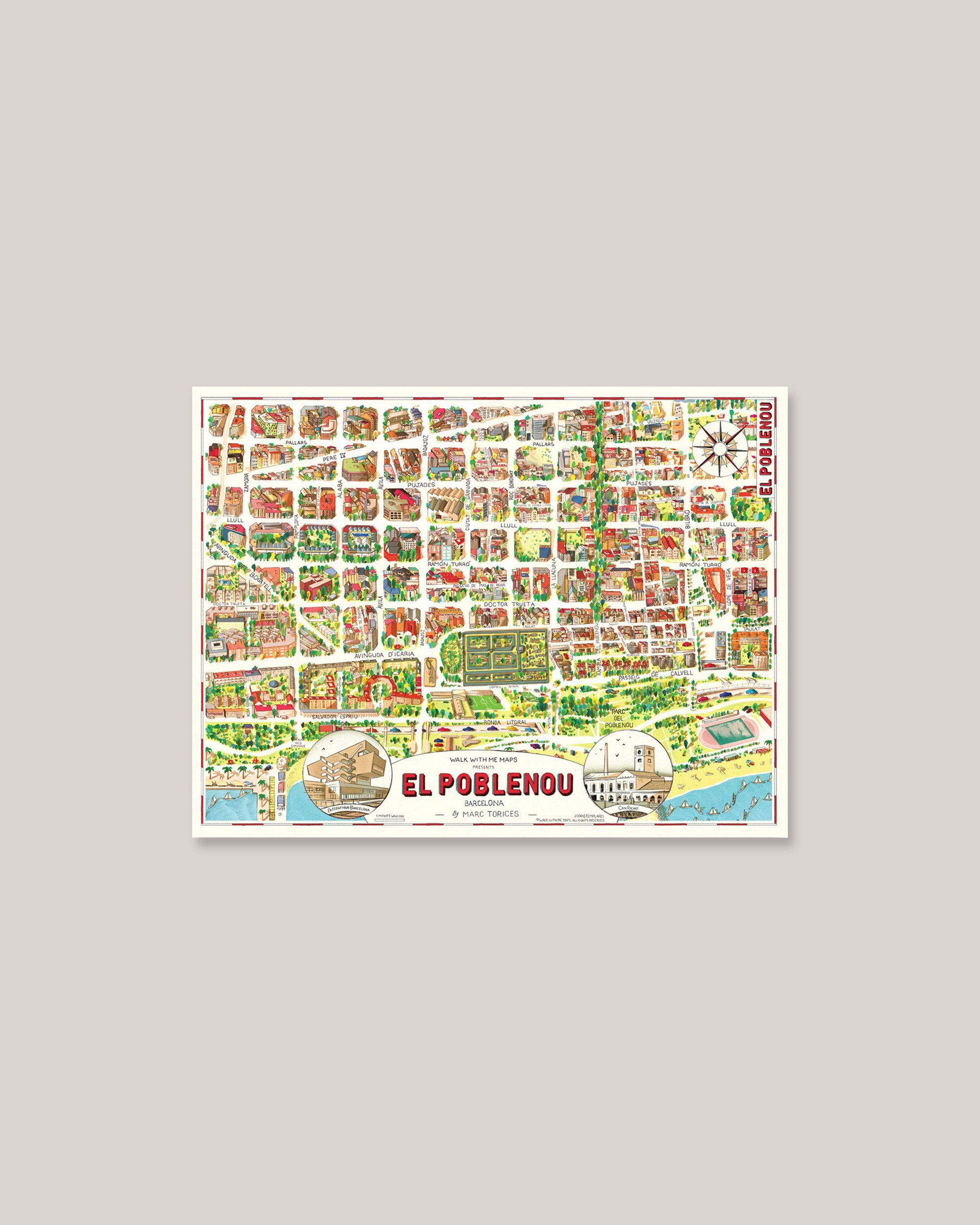 Shop home & interior decoration: Map Barcelona-Poblenou. Official Brava Fabrics store, 24h worldwide express shipping.