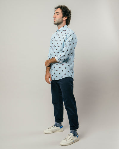 Brava Fabrics - Men's Shirt - Men's Casual Shirt - Men's Shirt - 100% Cotton - Model Tattoo Panther by Erques Torres