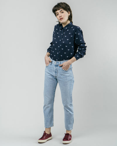 Brava Fabrics - Printed Blouse - Long Sleeve Blouse Women - 100% Ecovero-Viscose - Model Japanese Sky