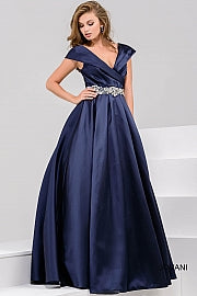 Navy Off the Shoulder Pleated Evening Ballgown 25190 - Marleighz