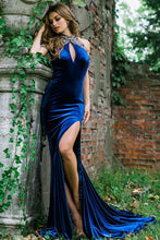 Load image into Gallery viewer, Navy Halter Neck Off the Shoulder Velvet Couture Dress 27457 - Marleighz