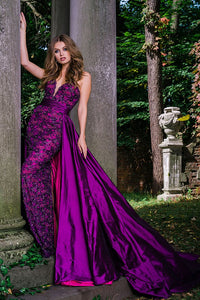 Purple Sweetheart Neck Embellished Couture Dress 36826 - Marleighz