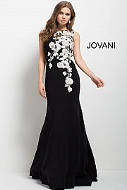 Black and White Floral Embroidered Mermaid Evening Dress 41715 - Marleighz