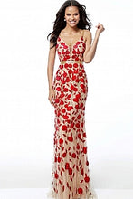 Load image into Gallery viewer, Nude Multi Embellished Fitted Plunging Neckline Evening Dress 42077 - Marleighz