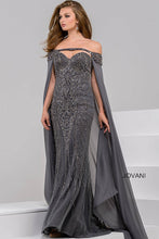 Load image into Gallery viewer, Charcoal off the Shoulder Beaded Sweetheart Neck Dress 45566 - Marleighz