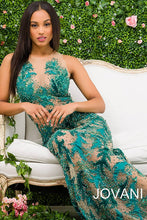 Load image into Gallery viewer, Green Sheer Neckline Beaded Couture Dress 46282 - Marleighz