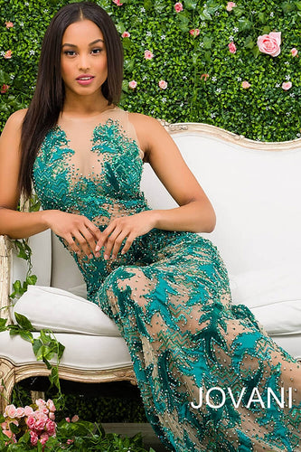 Green Sheer Neckline Beaded Couture Dress 46282 - Marleighz