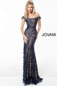 Navy off the Shoulder Lace Evening Dress 49634 - Marleighz