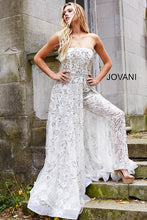 Load image into Gallery viewer, White and silver Beaded Couture Jumpsuit 50910 - Marleighz