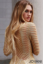 Load image into Gallery viewer, Gold Long Sleeve Embellihsed Couture Dress 51460 - Marleighz