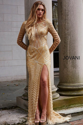 Gold Long Sleeve Embellihsed Couture Dress 51460 - Marleighz