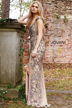 Load image into Gallery viewer, Nude and Silver Embellished Backless Couture Dress 51752 - Marleighz