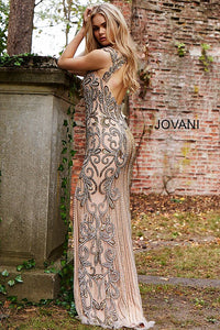 Nude and Silver Embellished Backless Couture Dress 51752 - Marleighz