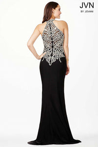 Red Halter Fitted Embellished Prom Dress JVN33691 - Marleighz