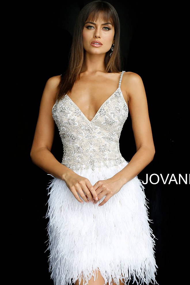 Nude Ivory V Neck Beaded Feather Cocktail Dress 54926 - Marleighz