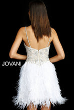 Load image into Gallery viewer, Nude Ivory V Neck Beaded Feather Cocktail Dress 54926 - Marleighz