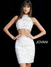 Load image into Gallery viewer, Two Piece Beaded Lace Fitted Short Party Dress 55241 - Marleighz