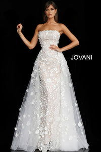 Off White Nude Floral Appliques Strapless Wedding Gown 55616 - Marleighz