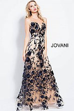 Load image into Gallery viewer, Navy Nude Sheer Neck Embellished Prom Dress 56046 - Marleighz