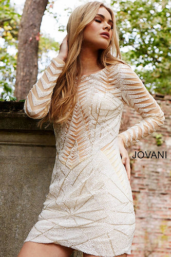 Ivory Embellished Long sleeve Short Dress 57931 - Marleighz