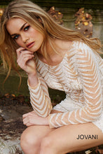 Load image into Gallery viewer, Ivory Embellished Long sleeve Short Dress 57931 - Marleighz